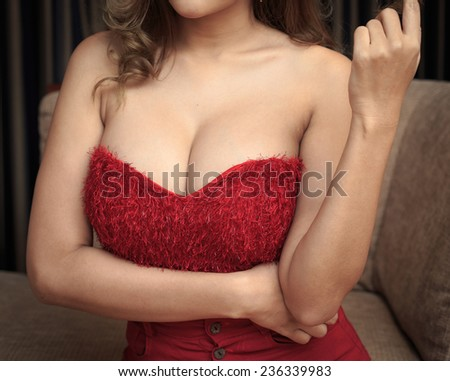 Beautiful slim body of woman in studio - stock photo