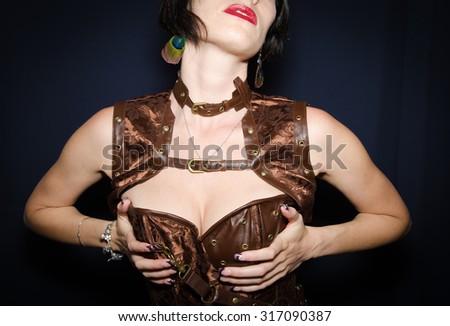 Beautiful slim body of woman in studio.  - stock photo