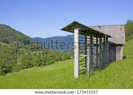 Beautiful smal houses in the Alps in Slovenia  - stock photo