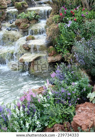 beautiful small waterfalls - stock photo