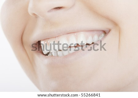 beautiful smile with white teeth - stock photo