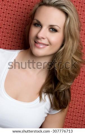 Beautiful smiling blond happy woman - stock photo
