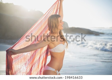 Beautiful smiling blonde holding scarf at the beach on a sunny day - stock photo