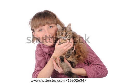 beautiful smiling brunette girl and her ginger cat over white background  - stock photo
