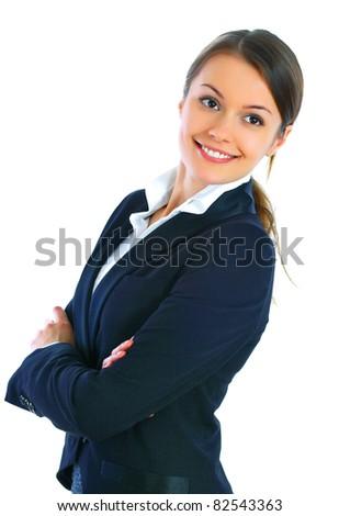 Beautiful smiling business woman - stock photo