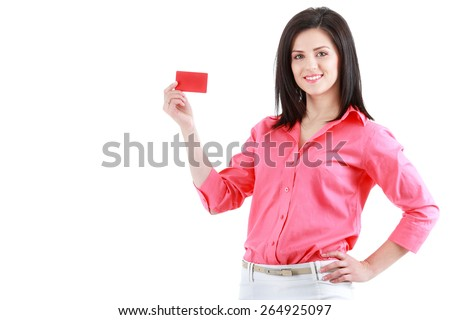 Beautiful smiling business woman showing red card in hand - stock photo