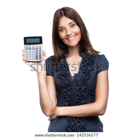 Beautiful smiling business woman with calculator, isolated on white background - stock photo