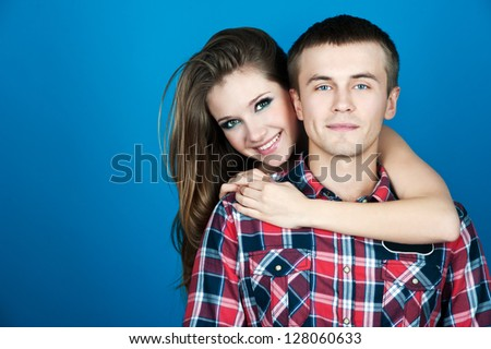 beautiful smiling couple - stock photo