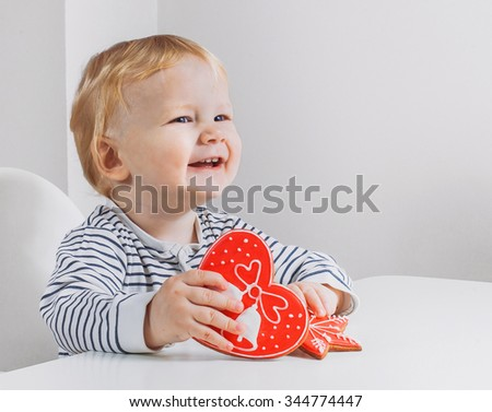 Beautiful smiling cute baby laughing - stock photo