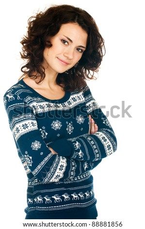 Beautiful smiling girl in Christmas sweater on white background - stock photo