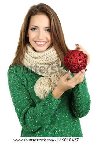 Beautiful smiling girl with Christmas toy isolated on white - stock photo