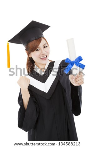 beautiful smiling Graduate woman with Degree - stock photo