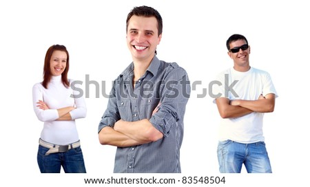 Beautiful smiling group of young people standing, white background - stock photo