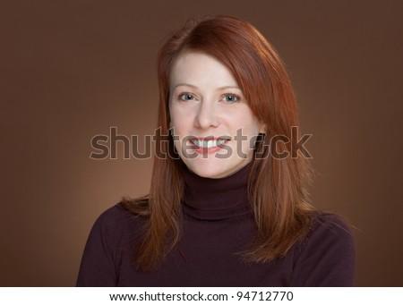Beautiful smiling happy woman closeup portrait - stock photo