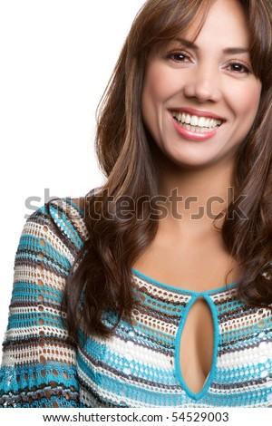 Beautiful smiling hispanic woman portrait - stock photo