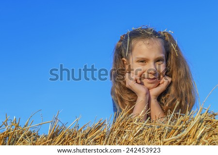 Beautiful smiling little girl lying in hay - stock photo