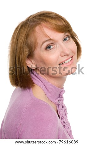 Beautiful smiling middle-aged woman. Isolated on white. - stock photo