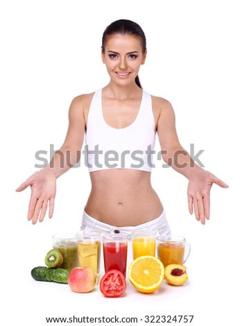 Beautiful smiling woman. Diet and vegetarian concept - happy woman with healthy food on an isolated white background. - stock photo