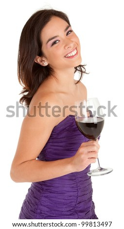 Beautiful Smiling Woman Holding a Glass of Wine - stock photo