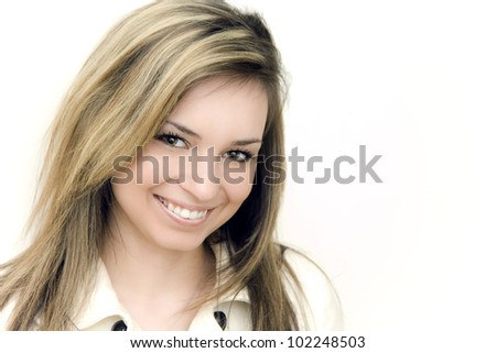 Beautiful smiling woman isolated - stock photo
