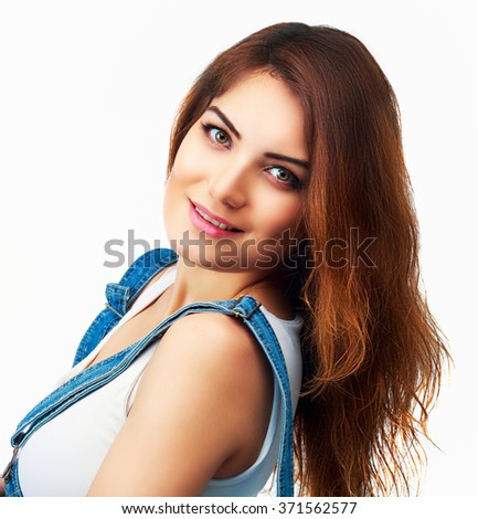 beautiful smiling woman, isolated against white background - stock photo