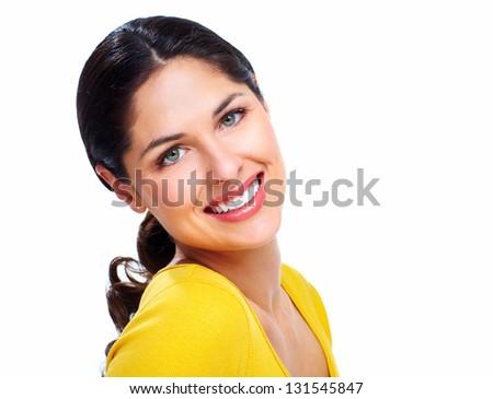 Beautiful smiling woman isolated on white background. - stock photo