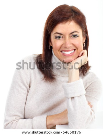 Beautiful smiling woman. Isolated over white background - stock photo