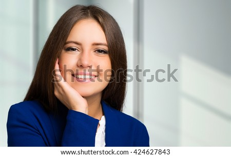 Beautiful smiling woman portrait - stock photo
