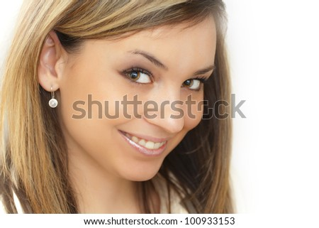 Beautiful smiling woman portrait with jewelery - stock photo