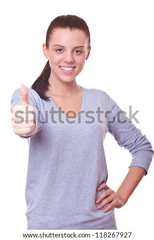 beautiful smiling woman with thumbs up. sign good, OK - stock photo