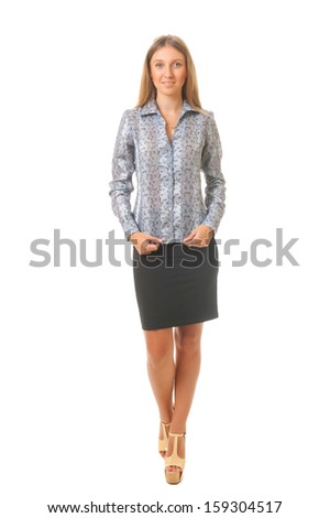 Beautiful smiling young business woman isolated on white background. Clean skin. - stock photo