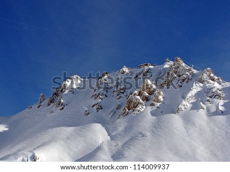 Beautiful snow capped mountain in Austrian Alps - stock photo