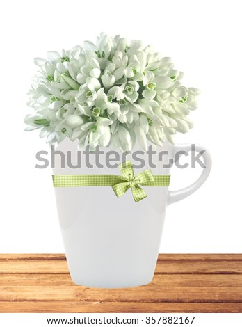 Beautiful snowdrops in cup on table isolated on white background - stock photo
