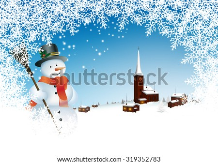 Beautiful Snowy Mountain Village with Azur Blue Sky and Abstract Filigree Snowflake Frame and Snowman - Winter Greeting Card Template. - stock photo