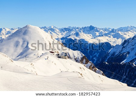 Beautiful snowy winter landscape in the Alps - stock photo