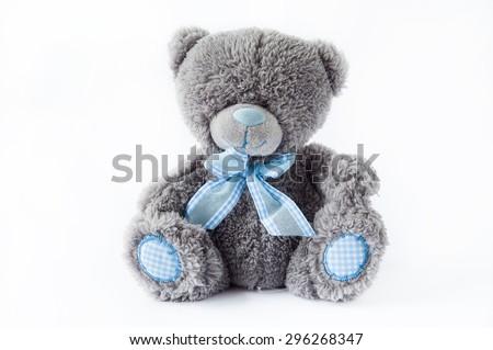 beautiful soft plush toy bear - stock photo