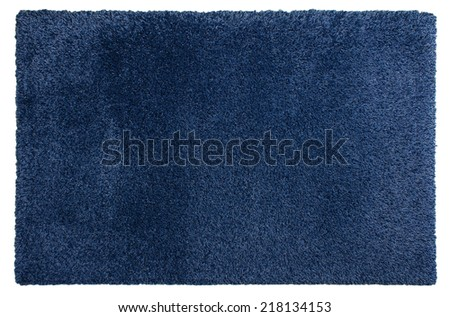 Beautiful soft shaggy carpet of blue color - stock photo