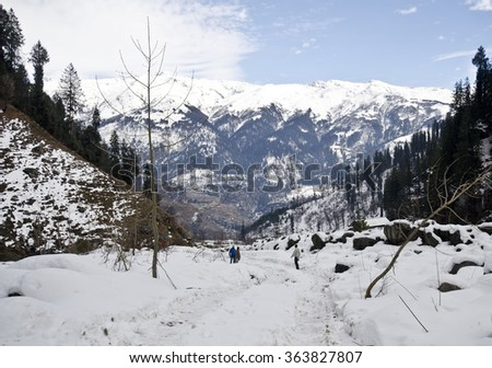 Beautiful solang valley - stock photo