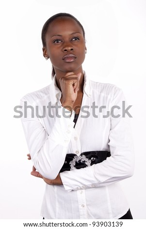 Beautiful South African woman with a thoughtful expression - stock photo