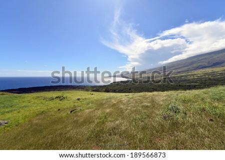 Beautiful south Haleakala National Park Maui Island Hawaii,Winding scenic road in southeast maui hawaii-2 - stock photo