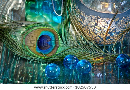 Beautiful spa arrangement in blues and greens - stock photo