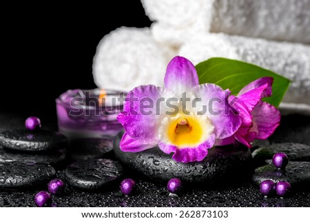beautiful spa background of orchid dendrobium, green leaf, candles, white towels and beads on zen stones with drops - stock photo