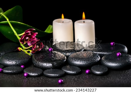 beautiful spa concept of flower orchid, phalaenopsis, candles, beads and zen basalt stones with drops - stock photo