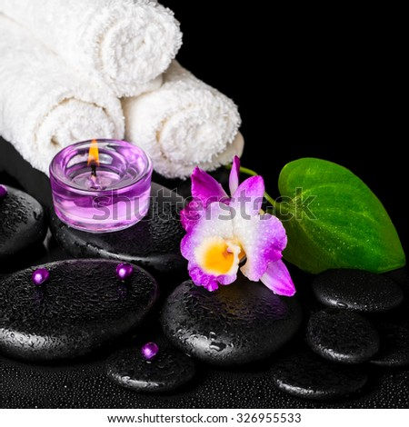 beautiful spa concept of purple orchid dendrobium with dew, black zen stone, green leaf, beads, towels and lilac candles, closeup  - stock photo
