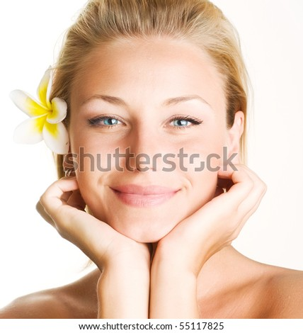 Beautiful Spa Girl Face - stock photo