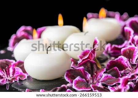 beautiful spa still life of blooming dark purple geranium flower, beads and candles in reflection water - stock photo