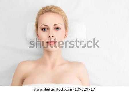 Beautiful Spa Woman with perfect skin.Beauty Treatment - stock photo