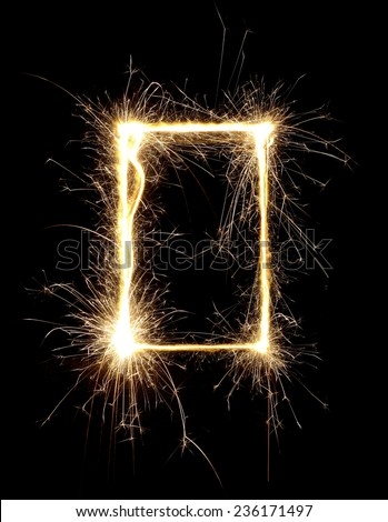 Beautiful sparkle sparklers on a black background. High resolution.  - stock photo