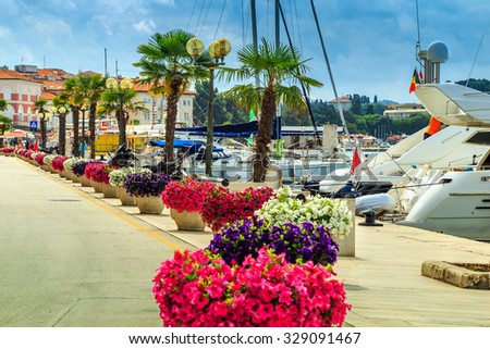 Beautiful spectacular walkway with luxury harbor on the Adriatic Sea,Porec,Istria,Croatia,Europe - stock photo