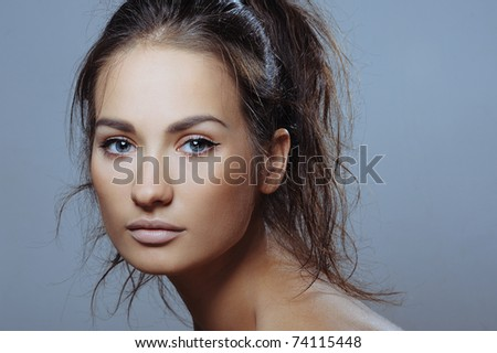 beautiful sport girl with health skin of face - stock photo